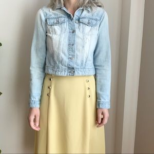 Vtg Emotions Yellow Midi Skirt Polyester Buttons 8